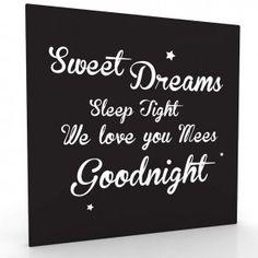 Sweet Dreams, sleep tight leuke muurdecoratie voor op de baby en of kinderkamer