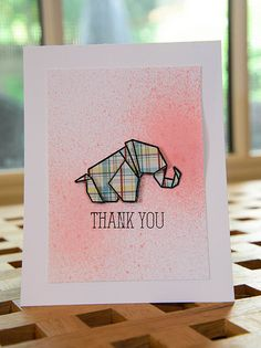 handmade card by ThereseImages ... paper pieced elephant  ... plaid paper ... on a sprayed panel ... clean, simple, cute!