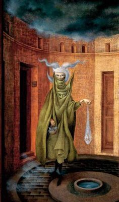 Woman Leaving the Psychoanalyst by Remedios Varo Surrealist Painter Art Inspo, Kunst Inspo, Art And Illustration, Fantasy Kunst, Fantasy Art, Art Visionnaire, Tomie Ohtake, Mexican Artists, Art Moderne