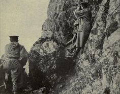 Siege of Tsingtao, China, WW1. Japanese Officers survey the operations against the German colony from Nearby Hill.