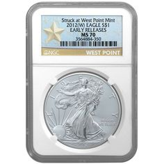 2012 (W) Silver American Eagle Struck at West Point Mint MS70 Early Release (ER) Star Label NGC