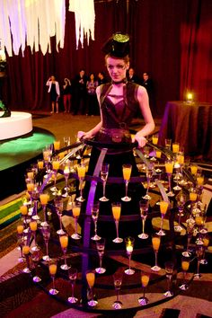 Champagne girl with skirt cart