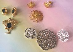 Lot 3 AVON Pin and Earring Jewelry Sets Vintage
