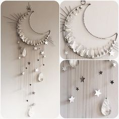 Just finished up the crystal moon wall hanging and will be listing it on my website tomorrow at 4pm New York time!  Measures about 3 ft long by 18 inches wide at the top with dangling stars and large quartz teardrops. dreamy