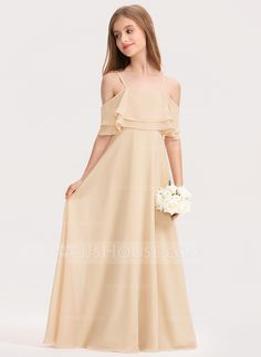 A-Line Off-the-Shoulder Floor-Length Chiffon Junior Bridesmaid Dress With Cascad. - A-Line Off-the-Shoulder Floor-Length Chiffon Junior Bridesmaid Dress With Cascading Ruffles -