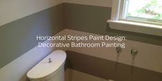 Check out this bathroom paint design: alternating colored horizontal stripes. See all the during and after photos (click-through). | #homedesign #painting #paintingideas #bathroom #bathroomdesign #homeimprovement #interiorpainting