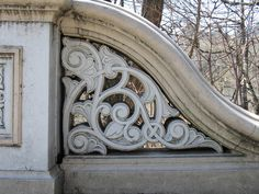 Architectural detail on Bow Bridge in Central Park, New York City.