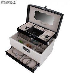 Všetko pre modernú domácnosť | homedesignsk.sk - Luxusná kožená šperkovnica GLAMOUR černobiela