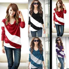 New Fashion Women T-shirt Batwing Long Sleeve Stripe Blouse Loose Tops