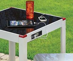 Ditch the wall outlets and get some eco-friendly recharging going when you place this solar panel charging table in your backyard. This clever patio table's glass top is actually a solar panel that absorbs the sun's energy and converts it into electrical energy.