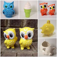 vintage owls.  I just bought the owl on the top left corner at an estate sale mine is a harvest gold.