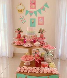 Tea Party Theme, Baby Party, Ice Cream Party, Colorful Party, Cupcake Party, Cake Table, Birthday Party Decorations, Birthday Celebration, First Birthdays