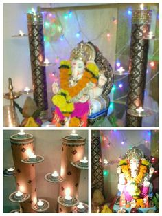 Ganapati Decoration 2016, original idea from pinterest. Used led lights for safety purpose. (Not shown in pics)