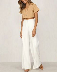 Daya Casual Crop Top in Tan White Crop Top Outfit, Crop Top Outfits, Casual Outfits, Linen Pants Outfit, Tan Pants, Linen Shirts, Cotton Crop Top, Summer Clothes, White Tops