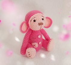 Crochet monkey symbol 2016 toys for children pink monkey toys handmade home decorations game Christmas gift to children - pinned by pin4etsy.com