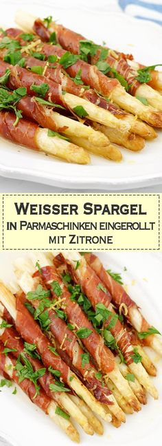 Weißer Spargel in Parmaschinken eingerollt mit Zitrone Salty Parma ham wrapped around white asparagus and sour lemon is a firework of flavors on the tongue. it's easy to do. So win win. Ham Wraps, Parma Ham, Vegetarian Recipes, Healthy Recipes, Asparagus Recipe, Lemon Asparagus, Le Diner, Evening Meals, Grilling Recipes
