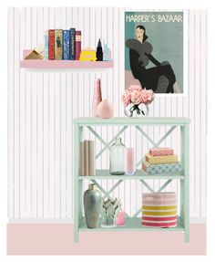 """""""open shelving"""" by mkrg ❤ liked on Polyvore featuring interior, interiors, interior design, home, home decor, interior decorating, Brewster Home Fashions, Safavieh, Imperfect Design and Kate Spade"""