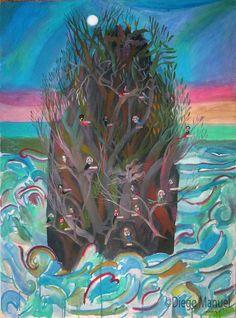 birds poets island. Cuadro en venta de la Serie Paisajes Naturales del artista plastico Diego Manuel