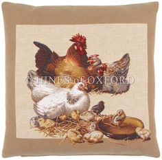 Farmyard Chicks I - Fine Woven Tapestry Cushion Fine Woven Tapestry Cushion finished with luxurious British velvet back Cushion made in England by