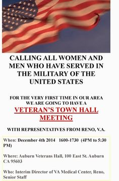 Town Hall for Veterans in Auburn CA - December 4th...