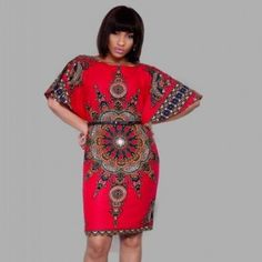 Dashiki shift dress knee length african by CoCoCremeCouturier