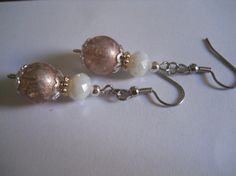Beadwork Mauve Pink Dangle Earrings Silver White by chicagolandia, $14.50