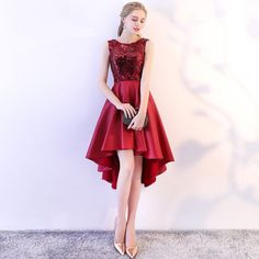 Chic / Beautiful Burgundy Cocktail Dresses 2018 A-Line / Princess Sequins Scoop Neck Sleeveless Asymmetrical Formal Dresses