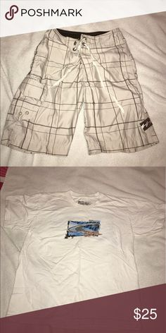 O'Neil bathing suit and t-shirt In great condition. The bathing suit is very well made and perfect for the beach and swimming!! And the shirt was barely worn, comfy, and looks great with everything!! (Especially the bathing suit) O'Neill Swim Swim Trunks
