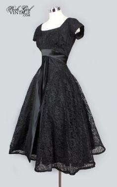 1950's Black Lace Tea Length Evening Dress