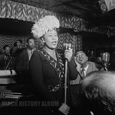 Singer Ella Fitzgerald at the Downbeat jazz club in New York City with Dizzy Gillespie