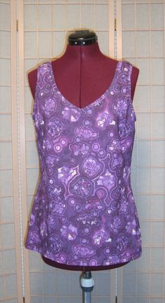Danskin Sz XL  14/16 Purple Psychedelic Print Athletic Yoga Fitness Top #Danskin #ShirtsTops