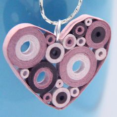 retro circles heart pendant mauve