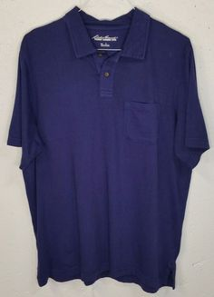 Eddie Bauer Pigment Garment Dyed Mens Blue Short Sleeve Pocket Polo Shirt Large #EddieBauer #PoloRugby