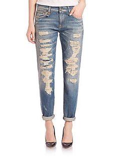 R13 Distressed Boyfriend Jeans - Blue - Size 2