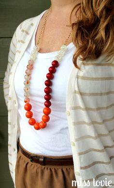 Color Block Chunky Bead Necklace