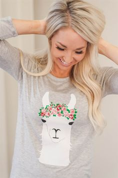 We're loving this llama graphic raglan top.  Everything is better with a floral crown, including a llama!