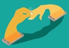 Digital Love illustratio - All content copyright 2016, Federico Gastaldi. All rights reserved. iphone, wedding, ring, Illustration, conceptual, editorial, Federico Gastaldi, Salzmanart.com
