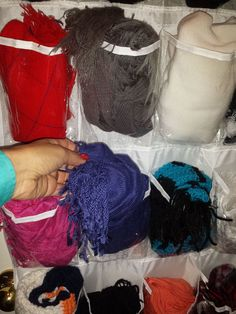 I found that using those hanging show organizers was perfect for winter items like scarfs, gloves and beanies. Beanies, Organizers, Scarfs, Gloves, Floor, Store, Pavement, Tent, Planners