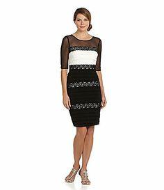 Jax 34Sleeve Mesh Top 2fer Dress #Dillards