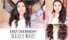 """Easy Overnight HEATLESS Waves - YouTube"""" Heatless Hairstyles, Cute Hairstyles, Hair Hacks, Hair Tips, Hair Ideas, Heatless Waves, Curls No Heat, Overnight Curls, Beauty Hacks"""