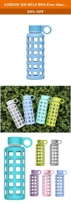 LOBZON KH-8012 BPA-Free Glass Reusable Sports Water Bottle with Lid, Sky Blue - 12 oz. Ever wonder what it was like to drink water before plastics came along? Or even before it was mixed with the taste of its metal container? With new premium glass water bottles, made from the finest products on earth, you drink from your insulated water bottle with no metal taste or plastic chemicals leaching into your water. Our glass water bottle is perfected for the environment AND the end user. The...