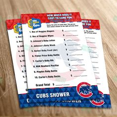 Chicago Cubs – Price Is Right Baby Shower Game