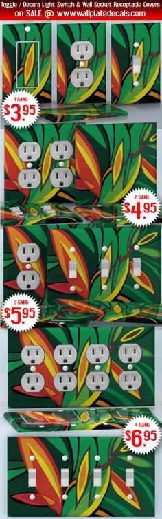DIY Do It Yourself Home Decor - Easy to apply wall plate wraps | Abstract Nature  Green and Orange leaves  wallplate skin stickers for single, double, triple and quadruple Toggle and Decora Light Switches, Wall Socket Duplex Receptacles, and blank decals without inside cuts for special outlets | On SALE now only $3.95 - $6.95
