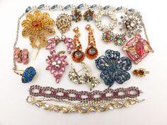 Vintage Jewelry Rhinestone Repair, Harvest, Repurpose - Some Signed #rhinestonerepairlot