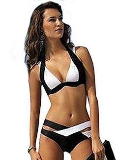 dde1e2b49f9a2 YAANCUN Mujeres Push-up Acolchado Bra Traje De Baño Dos Piezas Bikini Sets  Cuello Hálter Swimsuit  Amazon.es  Ropa y accesorios
