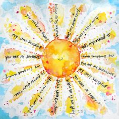 You Are My sunshine — Goldfish Kiss Goods You Are My sunshine — Goldfish Kiss Goods You are my sunshine, my only sunshine. a fun painting of a song I love to sing to my son, who is my sunshine. Sunshine Quotes, Sun Art, Motif Floral, You Are My Sunshine, Mellow Yellow, Art Plastique, Mixed Media Art, Watercolor Art, Art Drawings