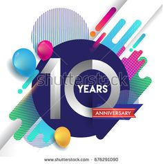 10 years Anniversary logo with colorful abstract background, vector design template elements for invitation card and poster your birthday celebration.