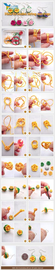 DIY rose earrings step by step photo  tutorial