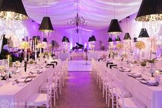 Wedding Reception Decor at Nooitgedacht Estate in Stellenbosch. Purple uplight,white draping, black lampshades over the long tables with a grand black piano. Farm Wedding, Wedding Table, Dream Wedding, Wedding Reception Decorations, Wedding Venues, Wedding Ideas, Uplighting Wedding, Black And White Theme, Wedding Gallery