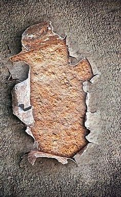 Hole on chipped paint with #rusty #metal #texture